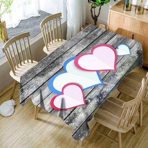 Store Hearts Wood Grain Pattern Waterproof Fabric Table Cloth