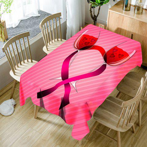 Unique Valentine's Day Wine Glass Heart Printed Waterproof Table Cloth