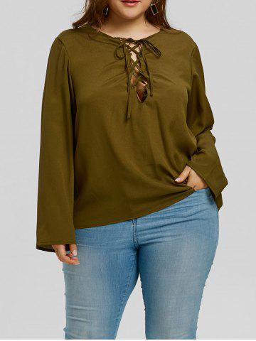 Shops Plus Size Low Cut Lattice Blouse