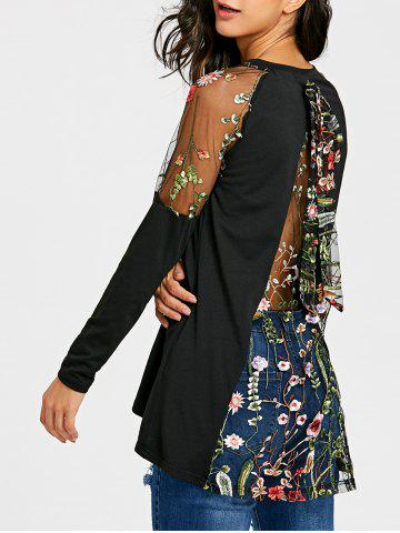 Fashion Raglan Sleeve Sheer Embroidery Top