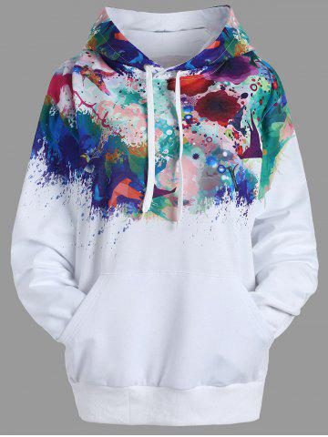 Ink Painting Kangaroo Pocket Drawstring Hoodie