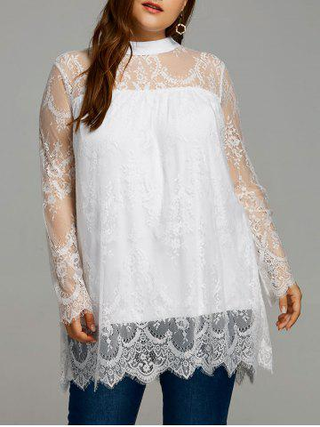 Store Plus Size Sheer Lace Scalloped Edge Blouse