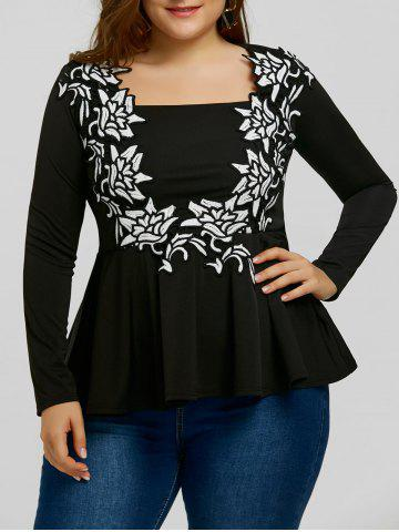 Discount Plus Size Monochrome Embroidery Peplum T-shirt
