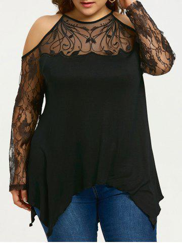 Chic Plus Size See Thru Cold Shoulder Top