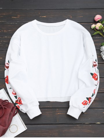 Discount Floral Panel Cropped Sweatshirt
