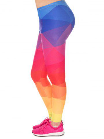 Chic Color Block High Waist Plus Size Leggings