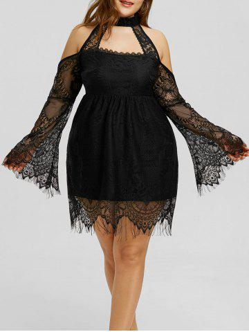 Online Lace Up Cold Shouder Plus Size Dress