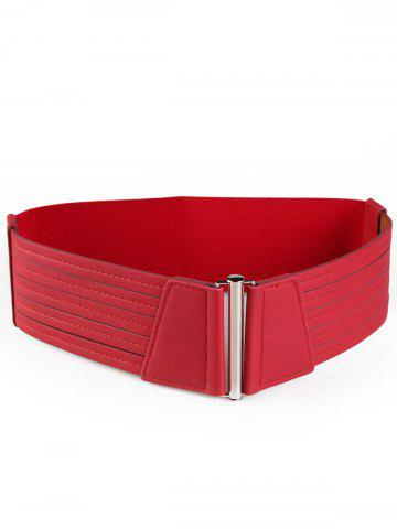 Online Vintage Striped Pattern Decorated Faux Leather Wide Waist Belt