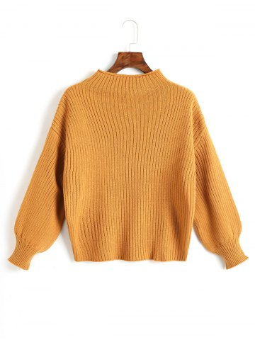 Hot Lantern Sleeve Plain Pullover Sweater