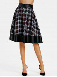 PU Leather Panel Plaid Swing Skirt -