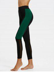 Sheer Mesh Panel Two Tone Leggings -