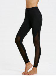 Sheer Mesh Panel Skinny Leggings - Black - Xl