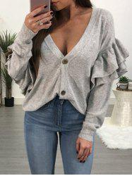 Long Sleeve Ruffle Embellished Button Sweater -
