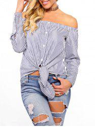Striped Off The Shoulder Tie Up Blouse -