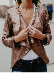 Long Sleeve Collarless Sequin Jacket -