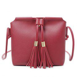 Faux Leather String Tassels Crossbody Bag -