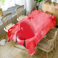 Valentine's Day Love Heart Pattern Waterproof Table Cloth -