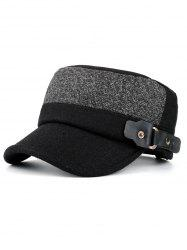 Simple Flat Top Button Military Hat -
