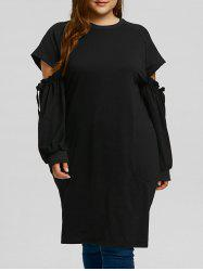 Plus Size Sleeve Cut Out Long Sweatshirt -