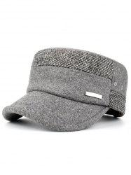 Metal Bar Embellished Adjustable Military Hat -