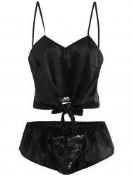 Front Tied Lace Panel Lingerie Set -