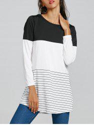 Long Sleeve Stripe Color Block T-shirt - White And Black - Xl