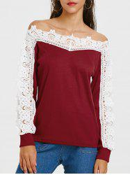 Openwork Lace Panel Long Sleeve T-shirt -