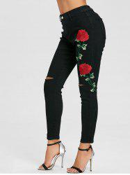 Knee Ripped Flower Embroidered Skinny Jeans -