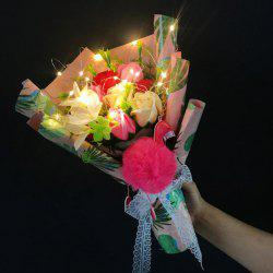 Flamingo Artificial Flower Bouquet Handmade Soap LED Light -