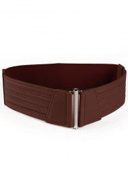 Vintage Striped Pattern Decorated Faux Leather Wide Waist Belt -