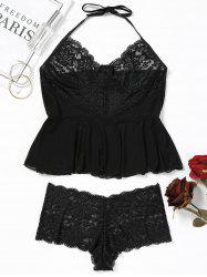 Lace Insert Mesh Sheer Lingerie Set -