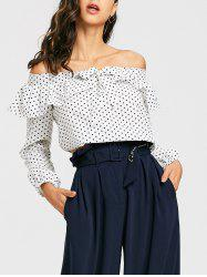 Cropped Off The Shoulder Polka Dot Blouse -