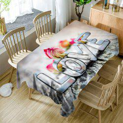 Nappe de Table Imperméable Motif Inscription Love pour la Saint Valentin -