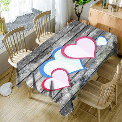Hearts Wood Grain Pattern Waterproof Fabric Table Cloth -
