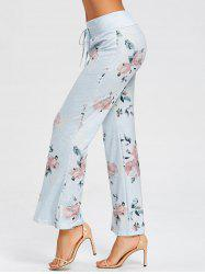 Flower Pattern Drawstring Pajama Pants -