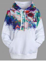 Ink Painting Kangaroo Pocket Drawstring Hoodie -