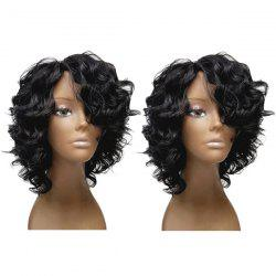 Short Inclined Bang Fluffy Loose Wave Synthetic Wig -