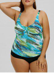 Bowknot Space Dye Plus Size Tankini Set -