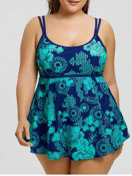Plus Size Strappy Padded Skirted Tankini Set -