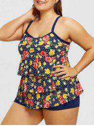 Tired Printed Plus Size Tankini Set -