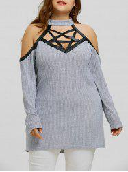 Plus Size Star Caged Mock Neck Blouse -
