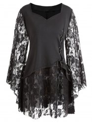 Gothic Plus Size Bell Sleeve Layered Lace Up Top -