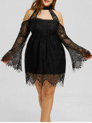 Lace Up Cold Shouder Plus Size Dress -