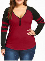 Plus Size Raglan Sleeves Stripes Two Tone T-shirt -