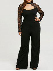 Lace Sleeve Plus Size Cut Out Jumpsuit -