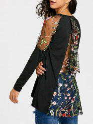 Raglan Sleeve Sheer Embroidery Top -