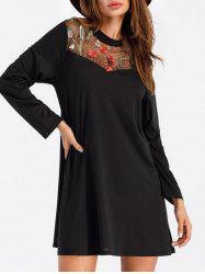 Embroidered Mini Tee Dress -
