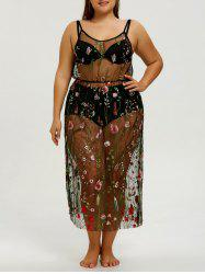 Plus Size Embroidery Slip Sheer Cover-up Dress -