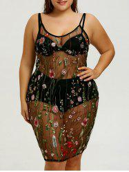 Embroidered Plus Size Slip Cover-up Dress -