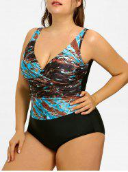 Graphic Plus Size Tummy Control One Piece Swimsuit -